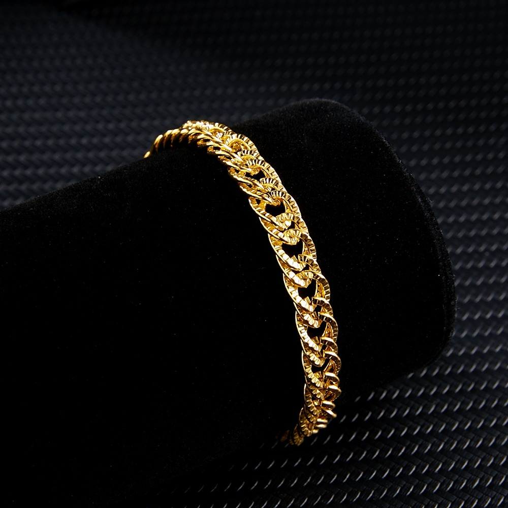 Rinhoo Hyperbole Punk Hip hop Style Gold Charms Circle Link Chain Bracelet Accessories Gift For Man Neo-Gothic Jewelry