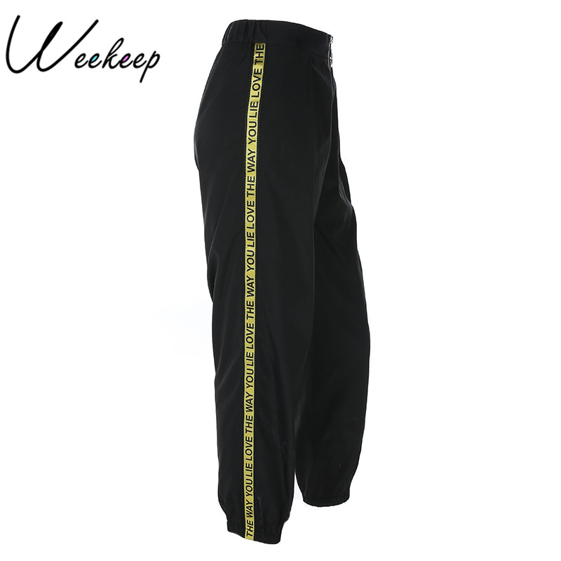 Weekeep Fashion High Waist Patchwork Pants Women Spring Casual Pencil Ankle-length Pants Black Elastic Waist Trousers