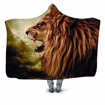 Lion Roaring 3D Print Hooded Blanket 1