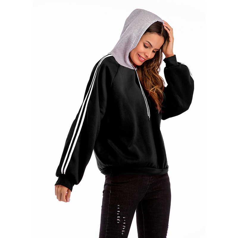 CINESSD Women Hooded Sweatshirt White Drawstring Long Sleeves Striped Patchwork Casual Loose Tops Black Lady Pullover Hoodies in Hoodies amp Sweatshirts from Women 39 s Clothing