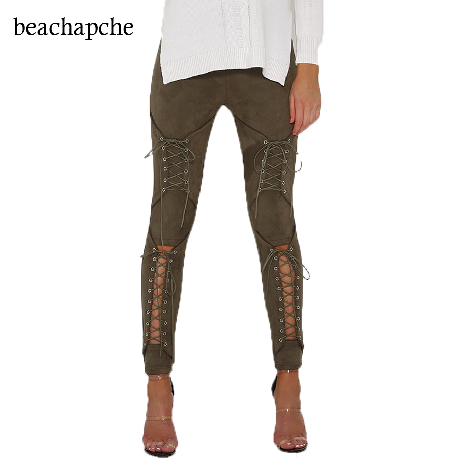 Suede Leather Pants 2017 New Autumn High Waist Lace Up Stretch Skinny Bodycon Pencil Leggings Pants Bandage Pants Women
