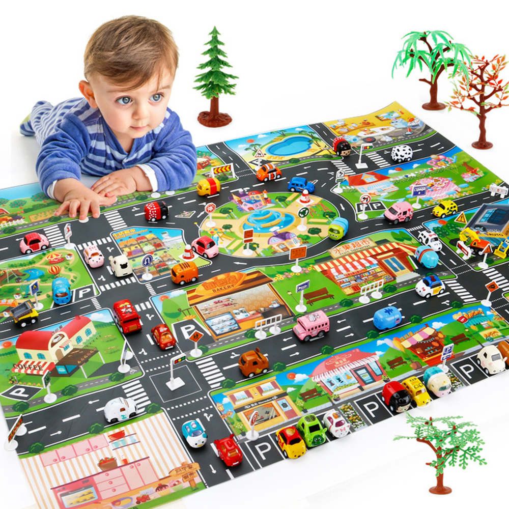 Kids Toys City Parking Lot Roadmap Map Play Mat DIY 18 Pcs Road Signs Children Interactive Play House Toys Floor Games Mat