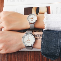 RENOS Lovers' Watch With Box Rhinestone Stainless Steel Quartz Wristwatches Fashion Casual Lover Stylish Watches Ladies Dress