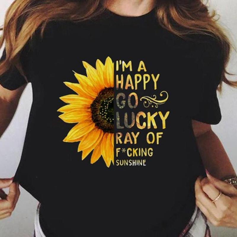 2019 Summer Women's Fashion Sunflower And Letter Print Women Casual T-shirt Plus Size Graphic Tees Women Black Tshirt