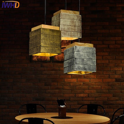 IWHD Cement Vintage Lamp Living Room Led Pendant Lamp Loft Style Industrial Retro wood Hanging Lights Home Lighting Fixtures retro loft style edison industrial vintage pendant lights hanging lamp fixtures for bar home living room lamparas colgantes