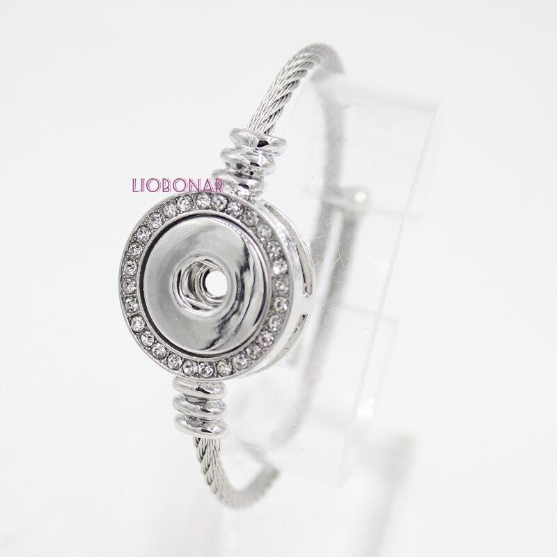 1 Pc Nieuwe Snap Sieraden Crystal Snap Base Rvs Band Verstelbare Snap Armbanden & Bangle Voor Vrouwen Fit 18mm Knop Diy Fijn Verwerkt