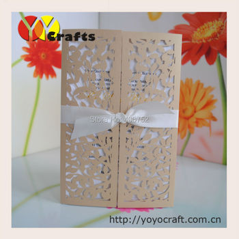 Hot sale beautiful leaves invitations Laser Cut Wedding Invitation Cards