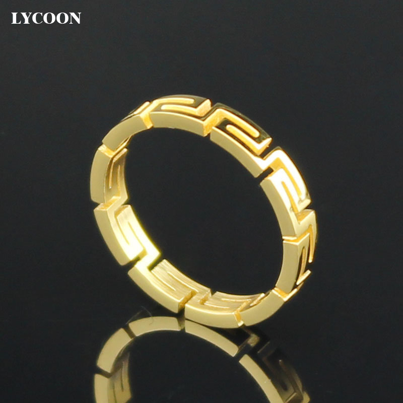 Promotion! Free shipping Fashion ring jewelry 316L stainless steel shiny polishing and plated yellow gold hollow out women rings