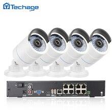 Techage 3000tvl 8-канальный 1080 P 2.0mp poe nvr системы видеонаблюдения безопасности poe, ip-камера onvif p2p водонепроницаемый открытый главная видеонаблюдения комплект