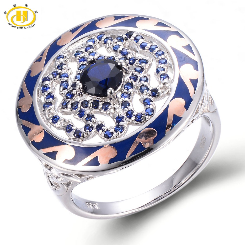 HUTANG Created Blue Sapphire Enamel Solid 925 Sterling Silver Ring Chinese Element Gemstone Fine Jewelry 11.11 все цены