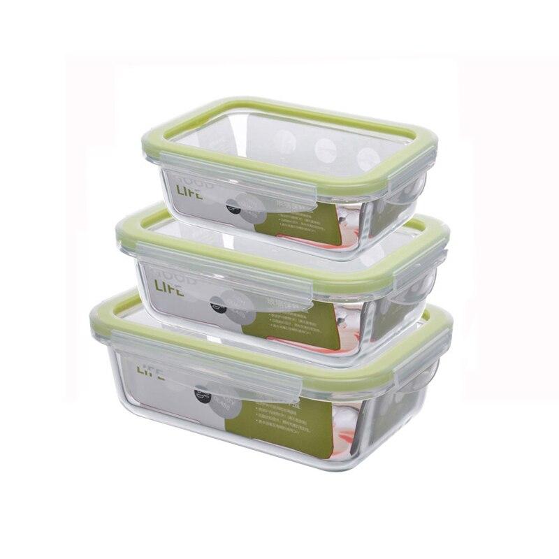 Retângulo recipiente de comida de vidro microondas aquecida bento refeição prep recipientes caixa de armazenamento de alimentos escola lancheira para crianças