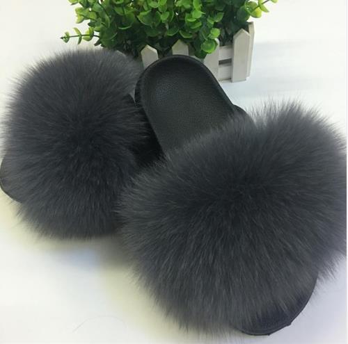 2019 Fox pelo Zapatillas de piel de las Mujeres Casa Fluffy deslizadores de peludo pisos de verano dulce zapatos de mujer tamaño 45 lindo Pantufas