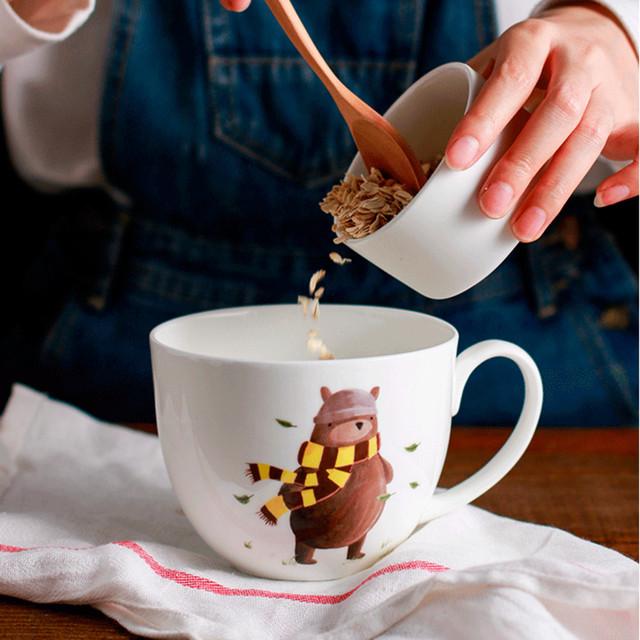 Cute Bear Printed Ceramic Tea Cup