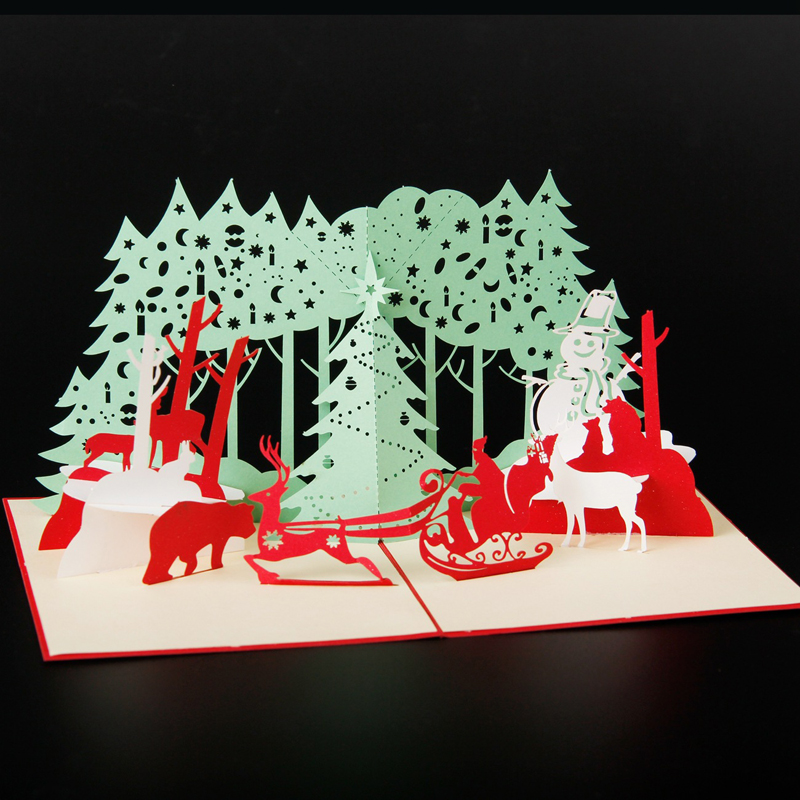 (5 pieces/lot)Merry Christmas Santa Ride 3D Laser Cut Pop Up Paper Handmade Custom Greeting Cards Christmas Tree Gifts 5 pieces lot a20 bga