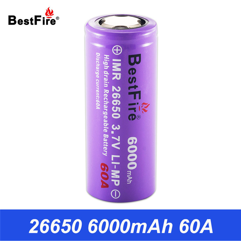 26650 Battery 3.7V Li-ion Rechargeable Battery Lithium Bestfire IMR 6000mAh 60A for E Cigarette Flashlight Led Torch Light B009