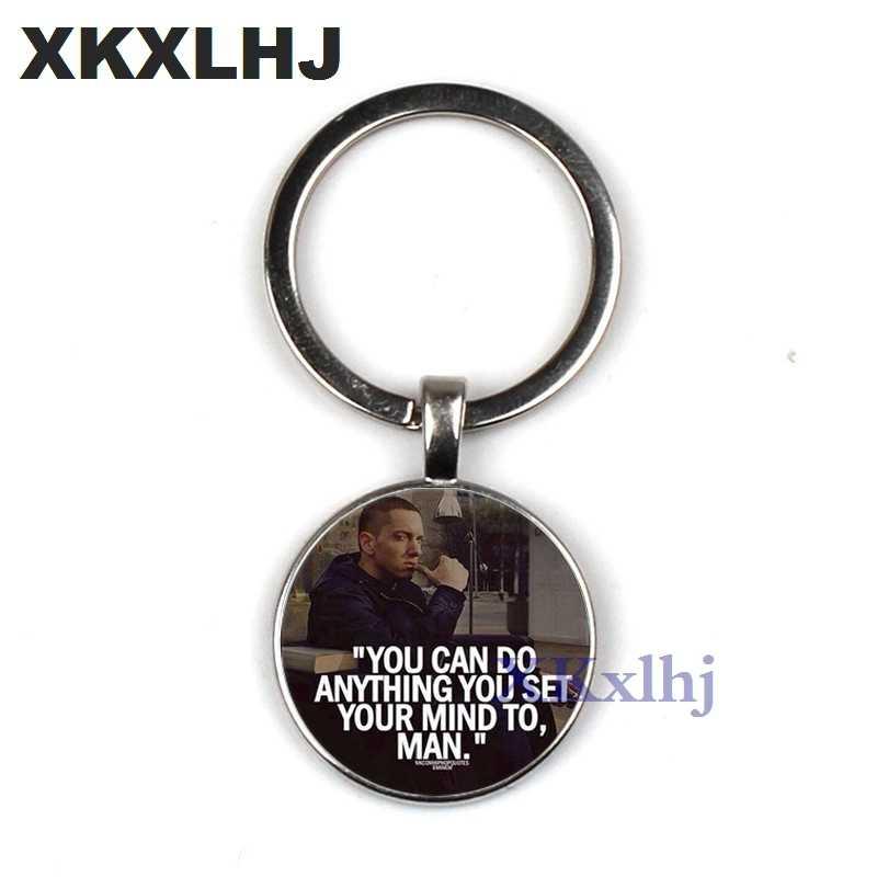 XKXLHJ hip-hop Rap piosenkarka Eminem brelok vintage yin yang Eminem zdjęcie szkło metalowe mężczyźni torebka torba samochód brelok do kluczy