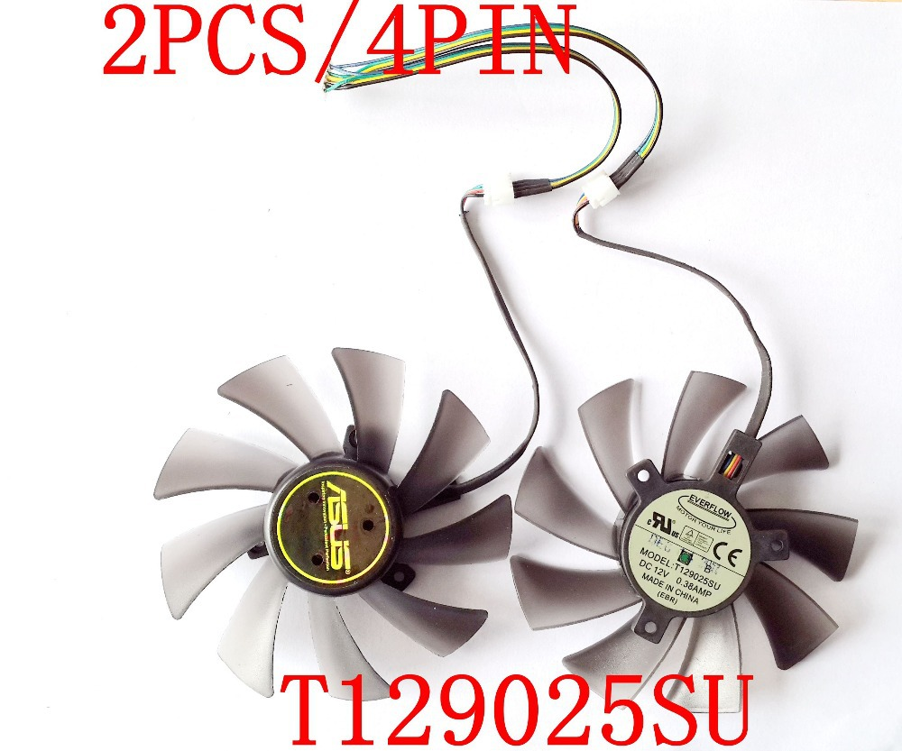 무료 배송 T129025SU 12V 0.38A 4PIN for ASUS HD7970 HD7950 GTX680 DirectCU II 그래픽 카드 팬