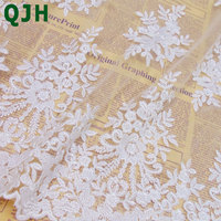 African Polyester Silk Fluorescence Embroidered Lace Fabric For Women Dress Soft Tulle Mesh DIY Clothing Accessories