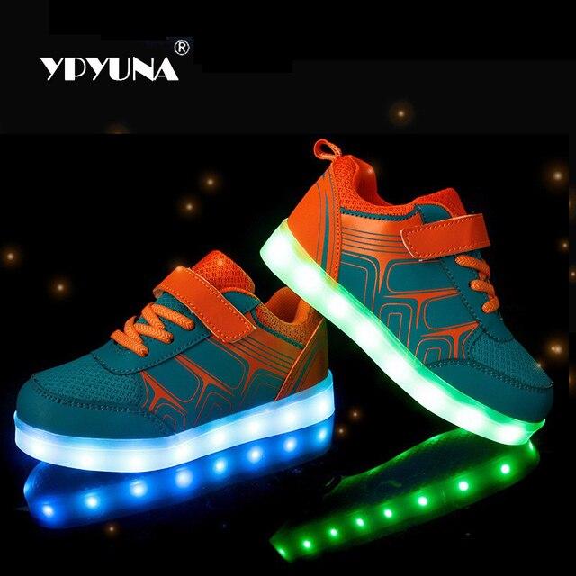 Taille 25 37USB chargeant les chaussures d'enfants de led avec allument les chaussures lumineuses lumineuses pour des baskets de garçons et de
