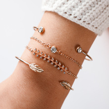 Cuteeco 4 Pcs/set Womens Fashion Exquisite Crystal Leaf Geometric Chain Gold Bracelet Set Bohemian Vintage Jewelry Gifts