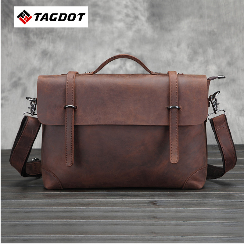 2016 new Genuine top Leather Men Bags Man Business font b Laptop b font Bag Briefcase