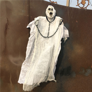 Image 2 - 36inch 90cm Tall White Halloween Decoration Hanging Ghost with Chain Light up Eyes Sound and Sensor for Halloween Props