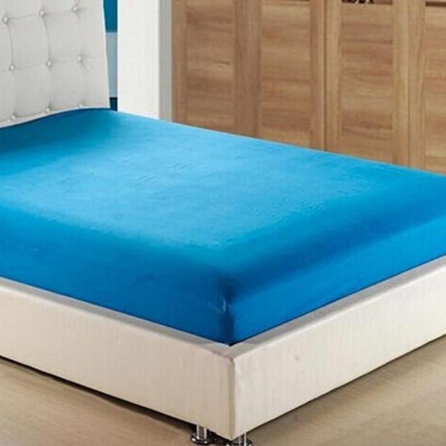 linge de lit polyester coton Lit Feuille Solide Couleur Équipée Élastique Matelas Couverture  linge de lit polyester coton