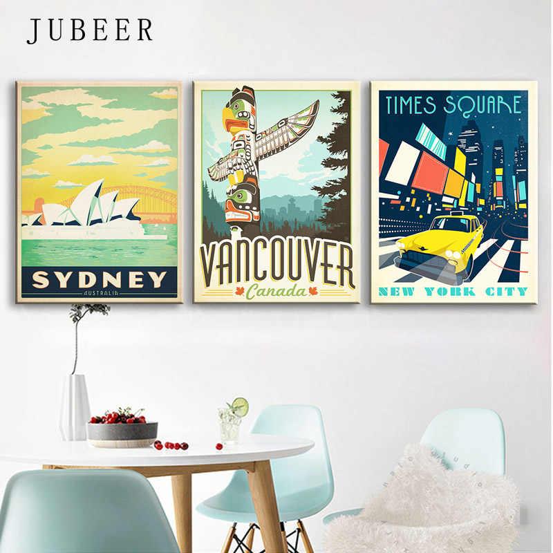 Ретро постер винтажный путешествия плакаты городской пейзаж Нью-Йорк Сидни холст картины на стену для гостиной для украшения дома