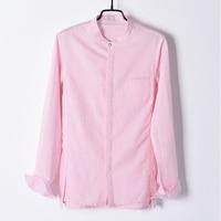 New brand long sleeve designer linen shirts men solid pink comfortable autumn shirt mens casual loose stand collar shirt male