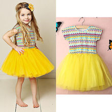Kids Baby Girls Print Yellow  Dress Ball Gown 4-5 Years Old Girls Dress