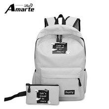 Amarte Холст Рюкзаки Новая Мода 2 Шт. Школьные Сумки для Подростка Девочек Большой Емкости Рюкзак Школьный Рюкзак