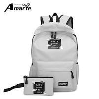 Amarte Canvas Backpacks New Fashion 2 Pcs School Bags for Teenager Girls Big Capacity School Backpack Rucksack