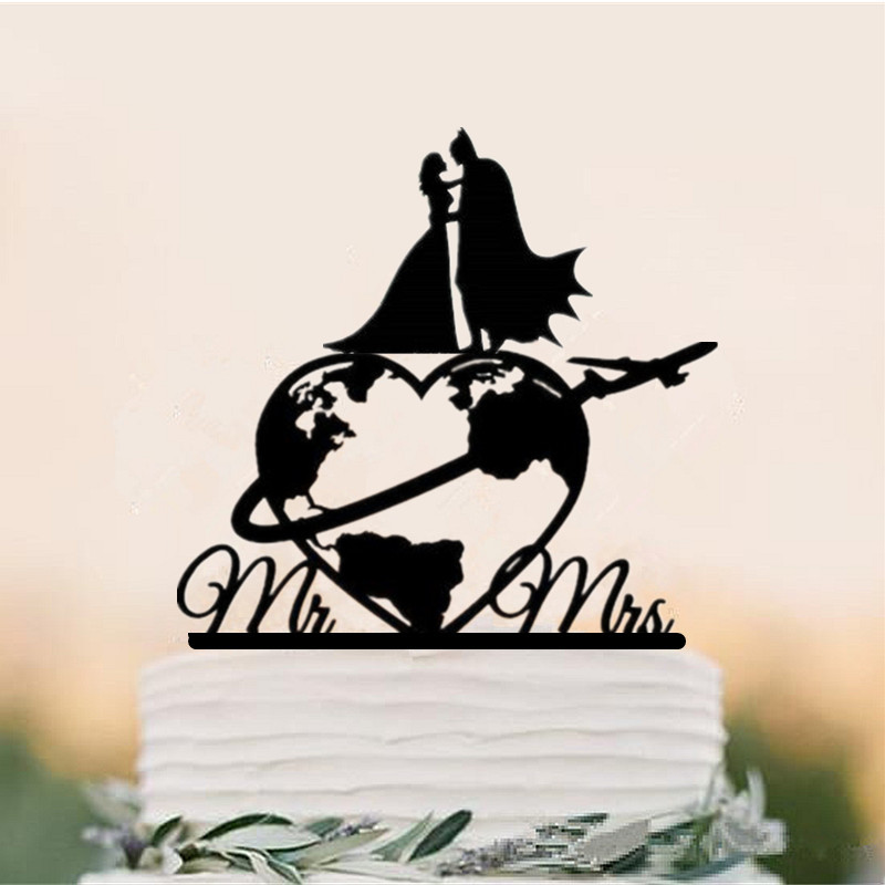 Travelling Themed World Map Wedding Cake Topper Batman and bride Silhouette cake Topper Airplane Mr & Mrs Cake Toppers image