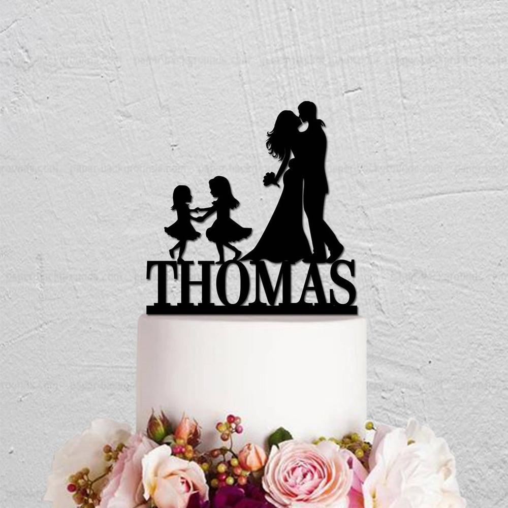Décoration de gâteau de mariage en famille | Garniture personnalisée avec nom, pour mariée et marié avec enfants, garniture de gâteau en Silhouette pour couples et deux filles