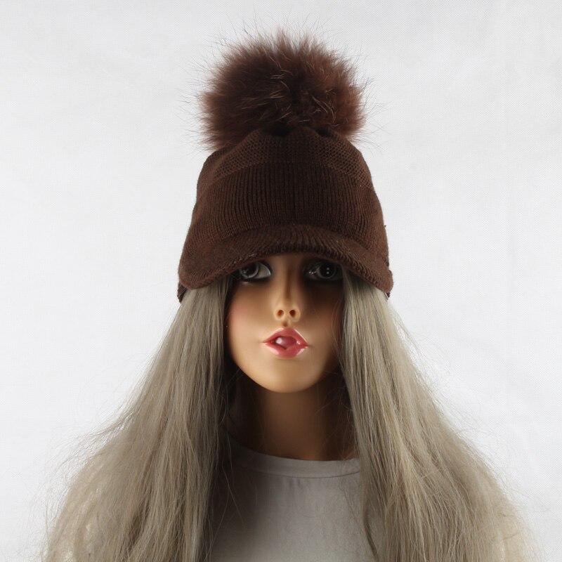FURANDOWN 17 New Real Fur Pom pom Cap For Women Spring Autumn Baseball Cap With Raccoon Fur pompoms Brand Snapback Caps 13