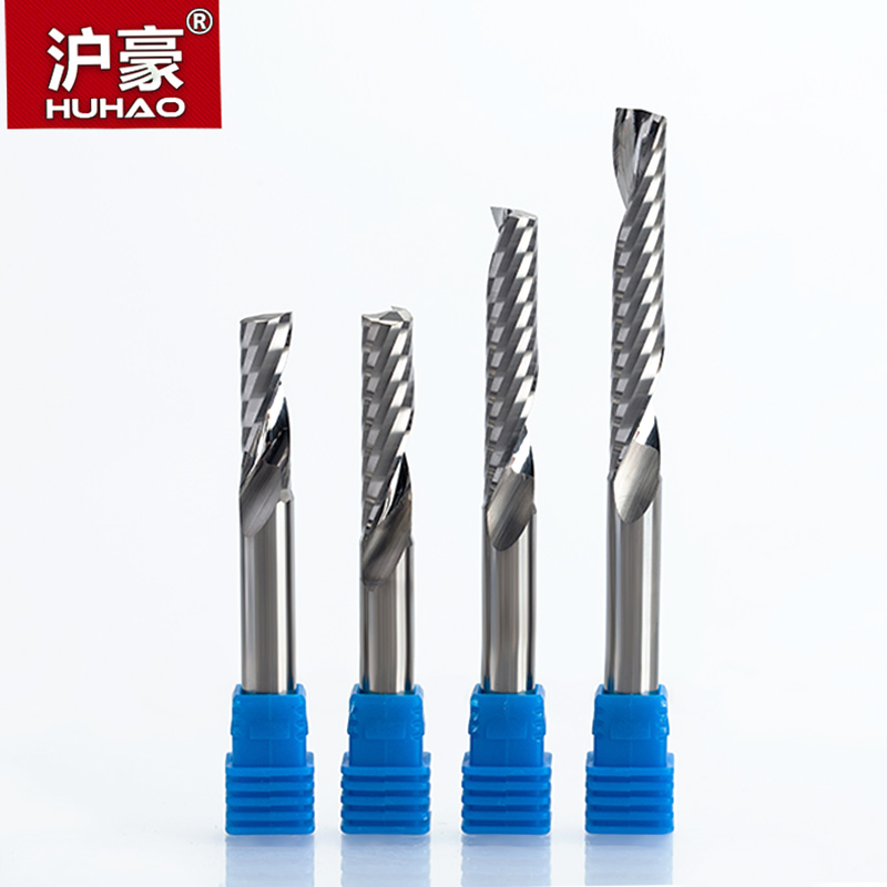 HUHAO 1pc 8mm Single Flute Spiral Cutter 3A TOP Qualit CNC Router bits for wood Acrylic PVC MDF End Mill Carbide Milling Cutters 1pcs 12mm shk one flute end mill cutter spiral bit cnc router tool single flute acrylic carving frezer