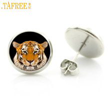 TAFREE 2017 new vintage cool wild animal stud earrings tiger leopard wolf charms jewelry steampunk women gifts D1391(China)