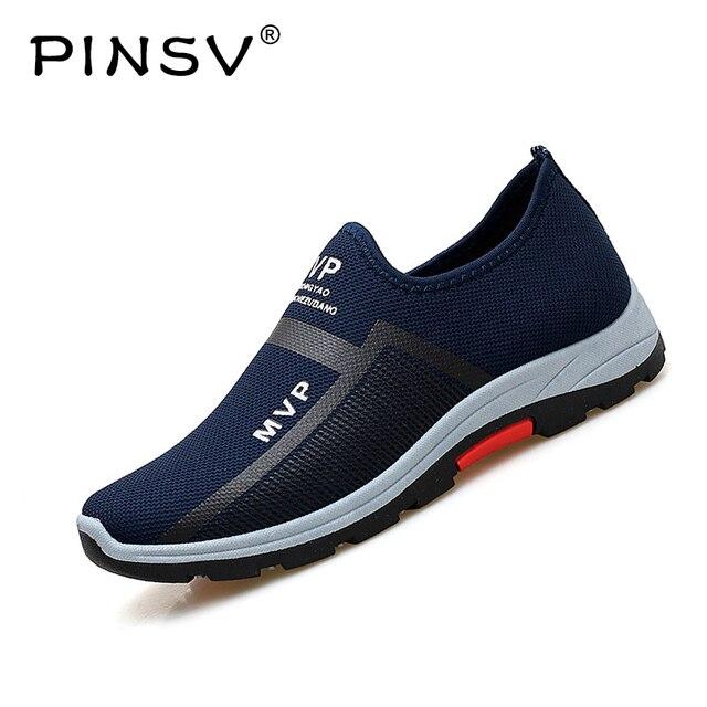 Giày Thể Thao mùa xuân Men Lưới Giày Cho Người Đàn Ông Giản Dị Giày Đôi Giày Lười Màu Đen Hợp Thời Trang Sneakers Mens Giảng Viên Giày PINSV