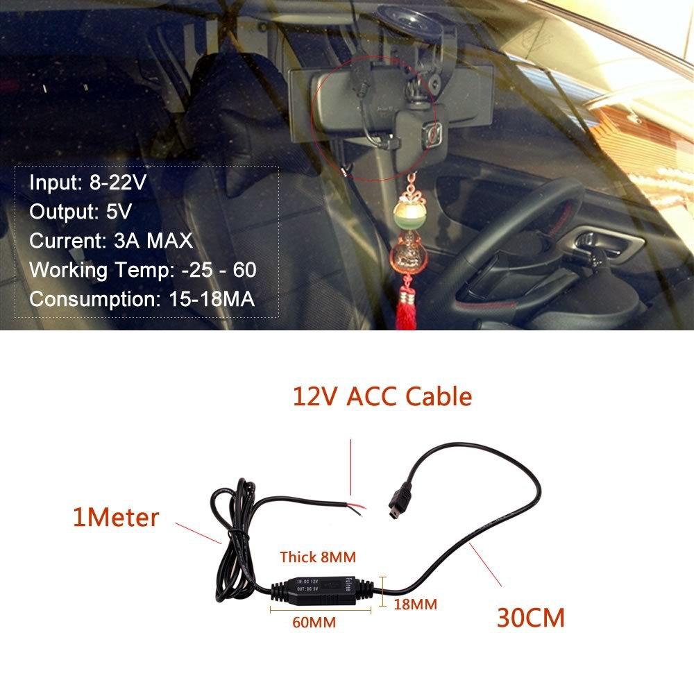 DC 12 В до 5 В Преобразователь Micro Mini USB Проводных автомобильное Зарядное Устройство для GPS Планшетный Телефон PDA DVR Рекордер Камеры (1 М)