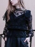 Women Fall New High Neck Embroidery Sheer Mesh Panel Blouse Fashion Sheer Lace Long Sleeve Shirts
