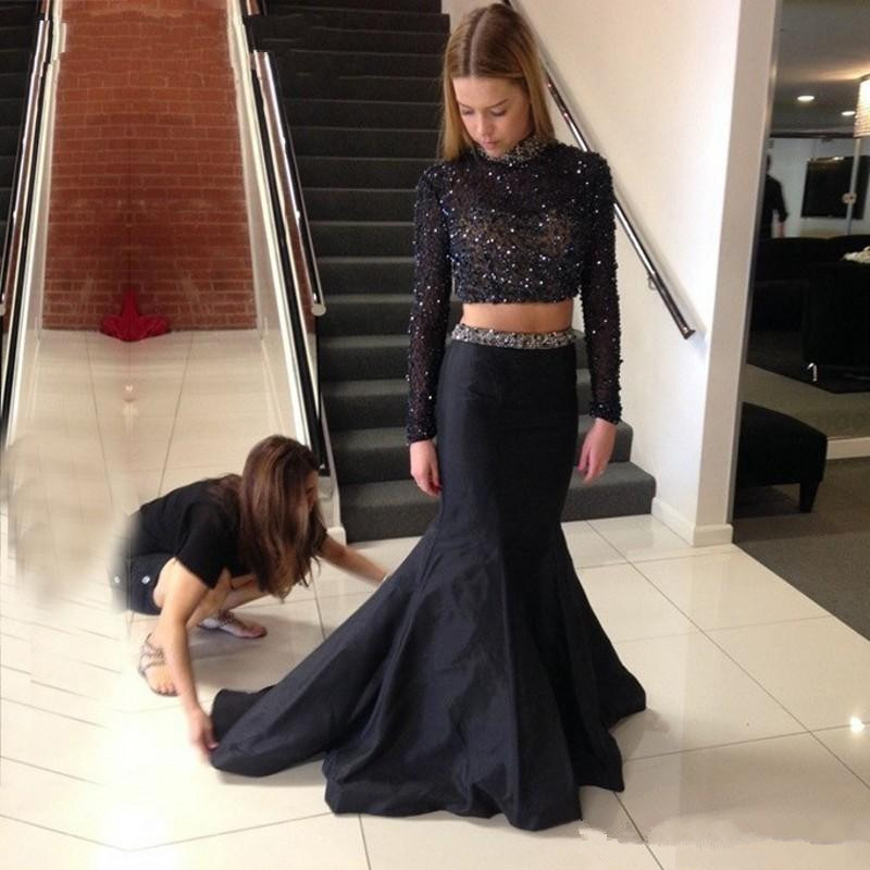 HQ Sexy Black Girl Prom Dresses with Long Sleeve Heavily Beading Sequins  Two Pieces Prom Dress Pageant Party Gowns-in Prom Dresses from Weddings    Events on ... 2a76bdec6df7