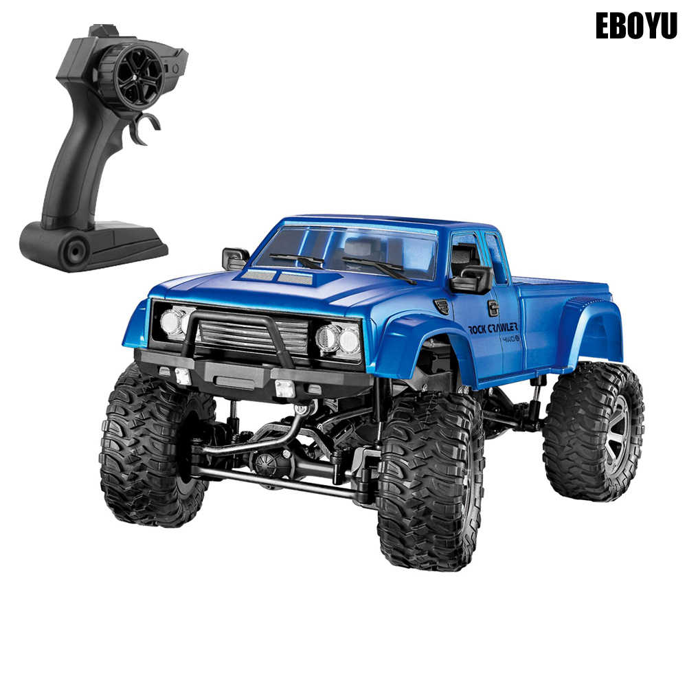 Eboyu FY002A 2.4 GHz 1/16 4WD Off-Road RC Truk dengan LED Depan Lampu Brushed Militer Truk RC Rtr