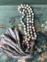 Grey Sari Silk Tassel Necklace Shabby Boho Knot Stone Beads Necklace N17081603