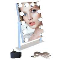 Hollywood Bluetooth Speaker Digital Clock 12 LED Bulbs Makeup Mirror Light Touch Adjustable Mirror Lights for Lighting Cosmetic