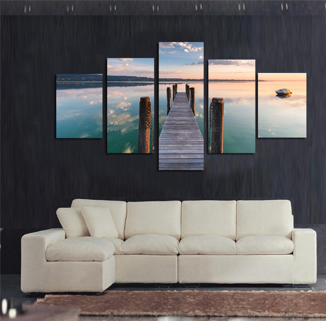 Decoration printed oil painting canvas prints no frame 5 panel ...