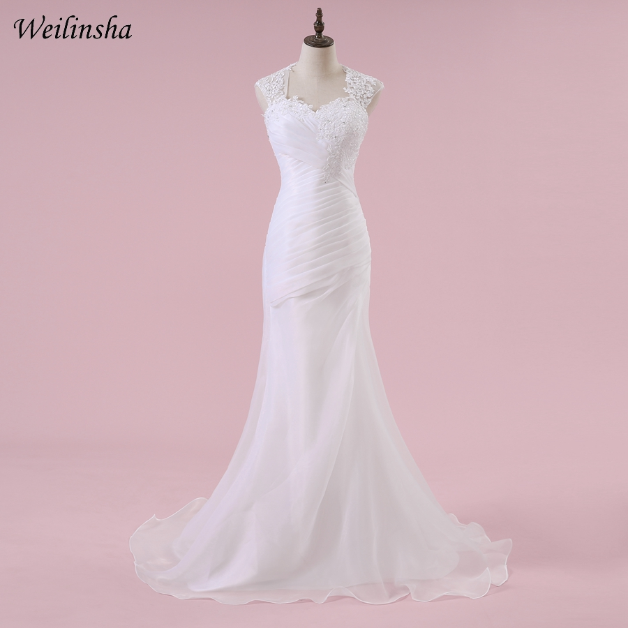 Wedding Dress Illusion Back: Weilinsha Cap Sleeve Organza Wedding Dresses Appliques