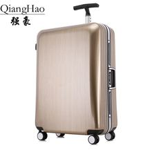 High quality 20/22/25/29 inch fashion trolley case aluminum frame Travel luggage ABS+PC suitcase customs lock business Boarding
