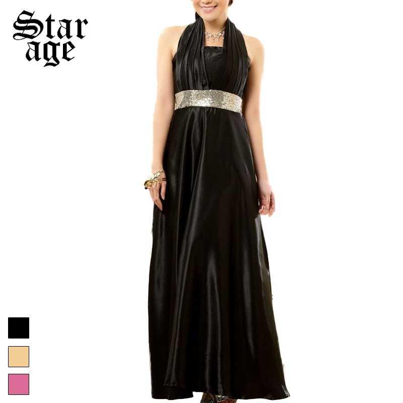 M-XXXL Sequined Halter Long Formal Dresses Plus Size Elegant Women Dinner  Gown Full Dress 192743481a1b
