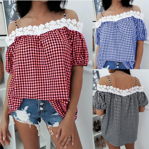 63285d70d1820 Fashion Ladies Lace Off Shoulder Blouse Shirts Office Top Womens Summer  Casual Loose Cotton Short Sleeve Blouses Shirt Clothes