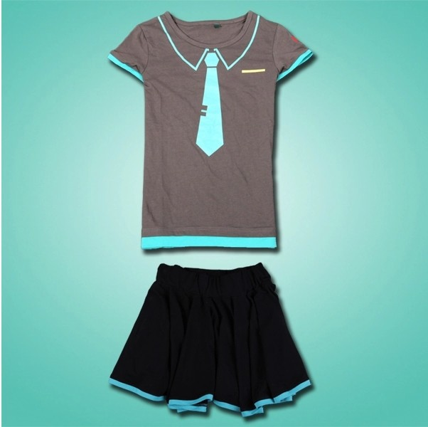 2 pcs/set Hatsune Miku Cosplay Clothes Miku T-shirt + Skirt Anime Fashion Sexy Girl Skirts Free Shipping free shipping new cosplay pretty hatsune miku water blue miku cos wigs